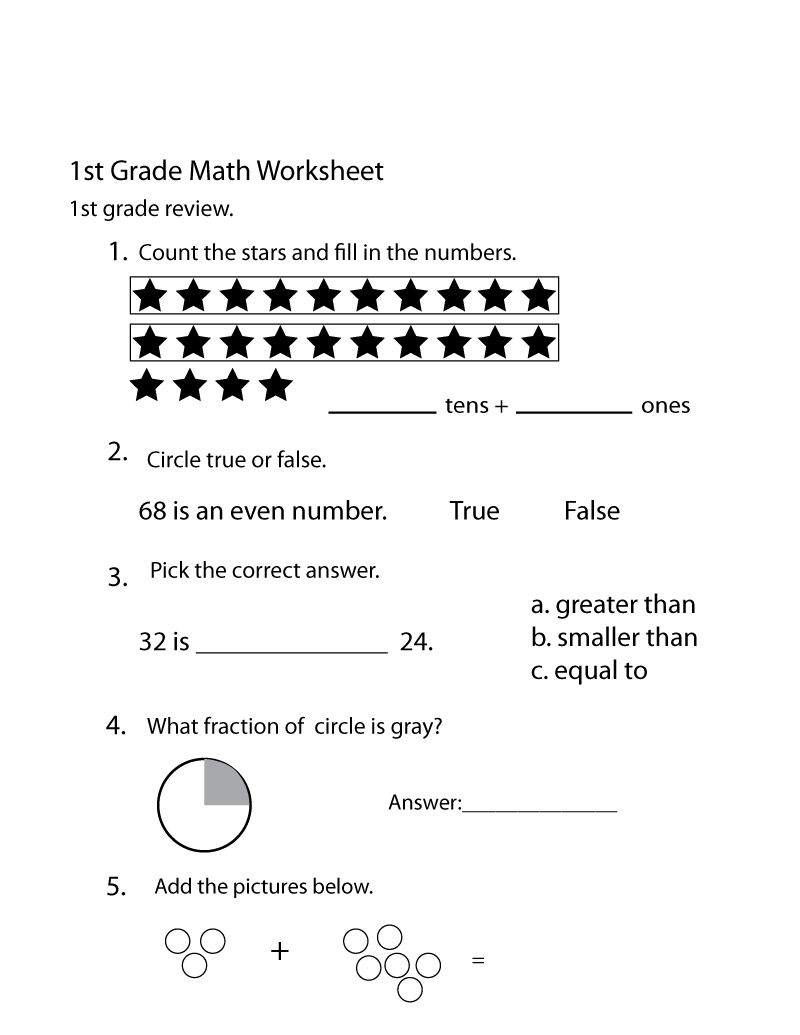 1 Grade Work Sheet Math Printable
