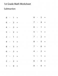 1 Grade Work Sheet math