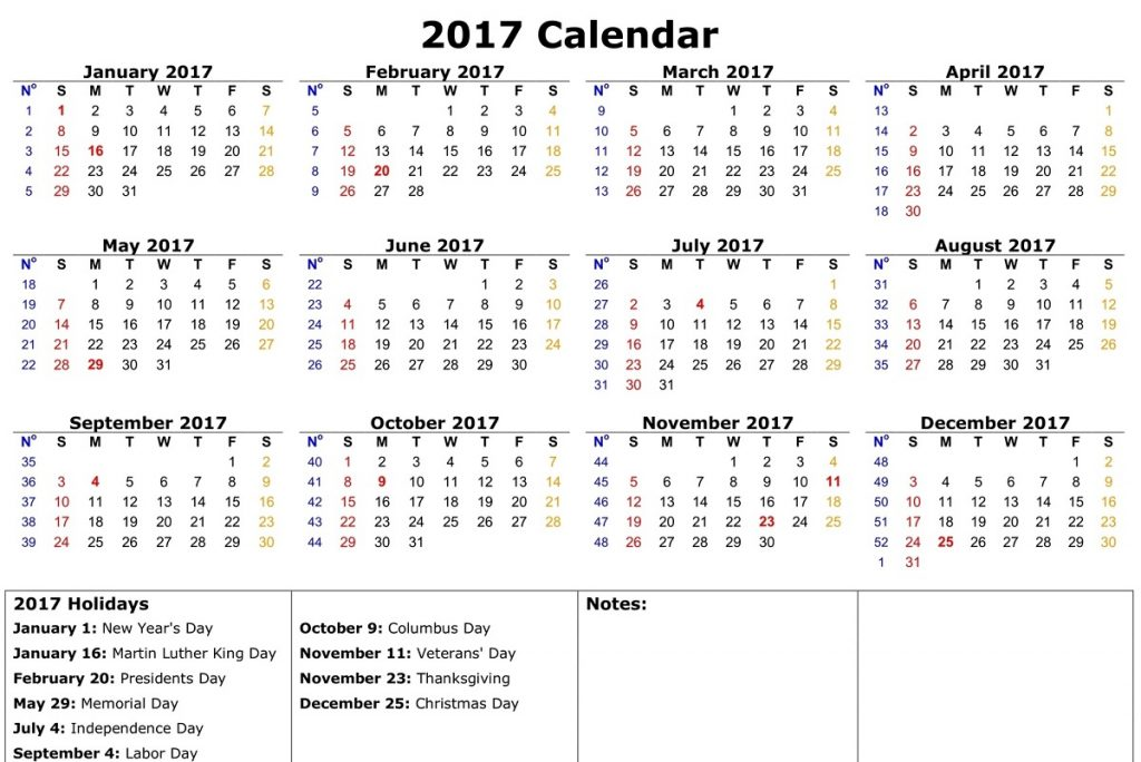 2017 calander in 1 page free