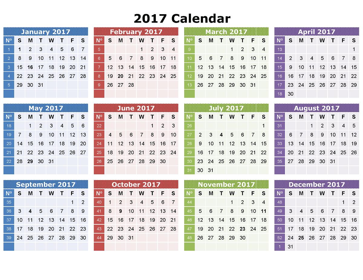 2017 calander in 1 page image