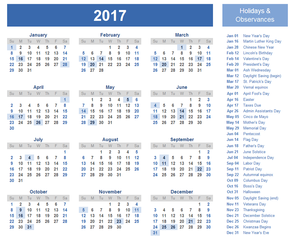 2017 calander in 1 page with holiday