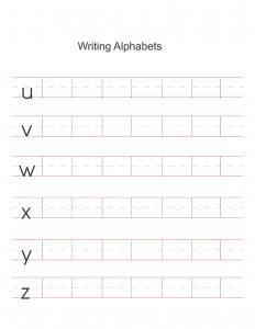 Alphabet sheets for preschool writing
