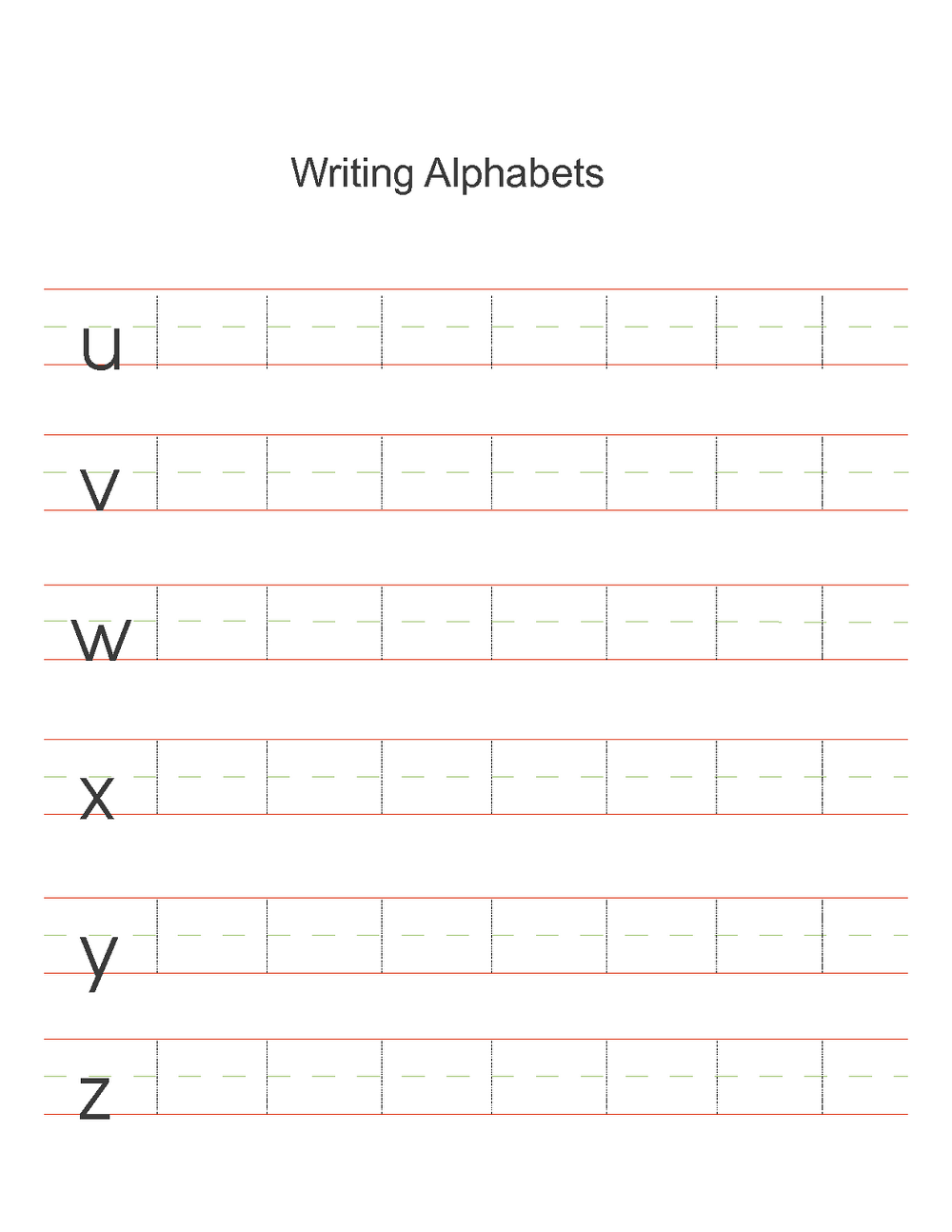 Alphabet sheets for preschool writing