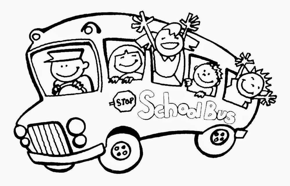 Elementary school coloring pages bus
