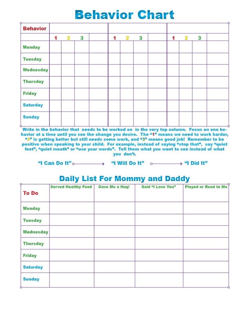 Printable Behavior Charts free
