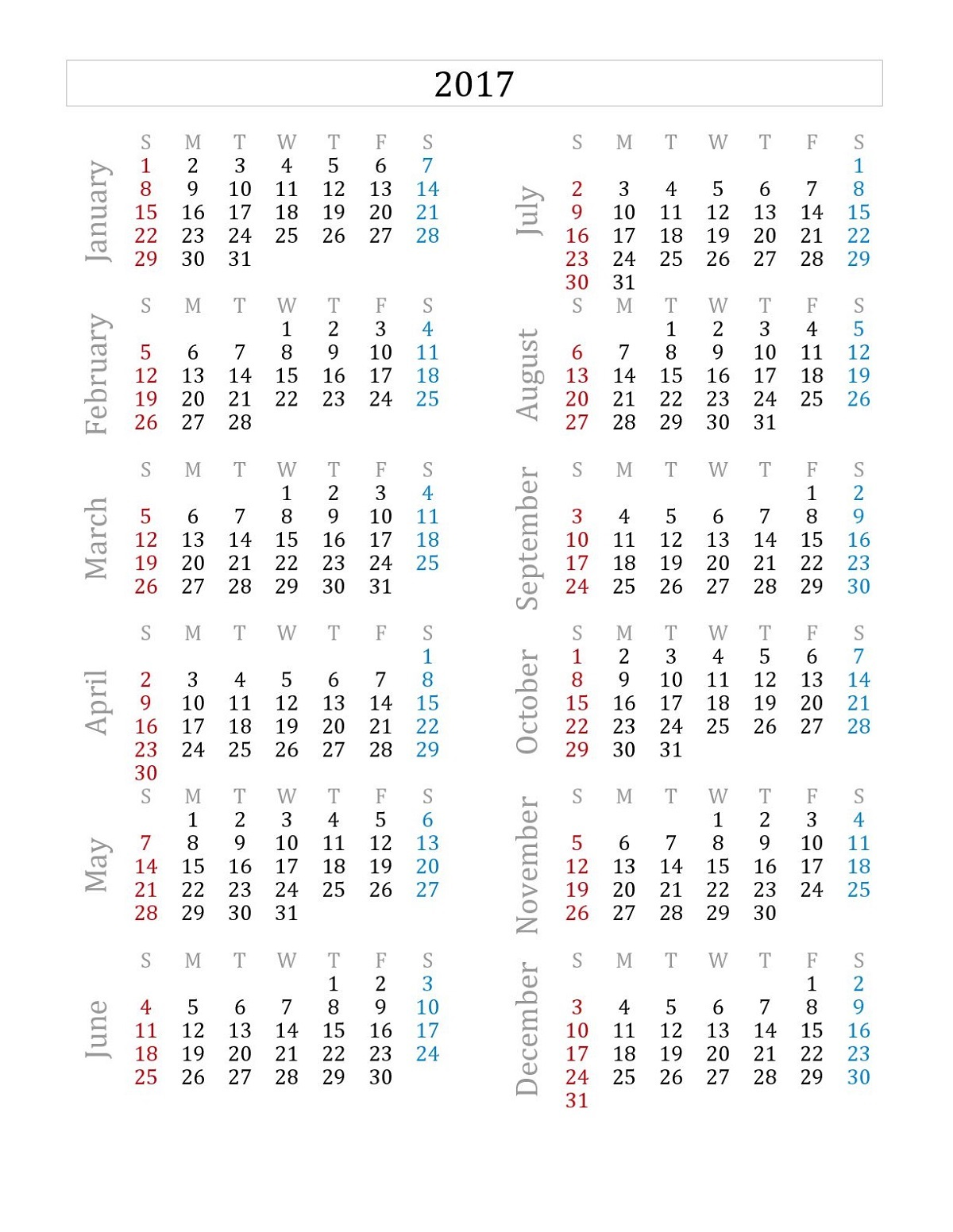 Printable Calendars 2017 One Page free
