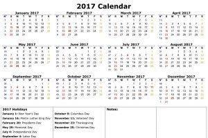 Printable Calendars 2017 One Page fun