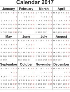 Printable Calendars 2017 One Page simple