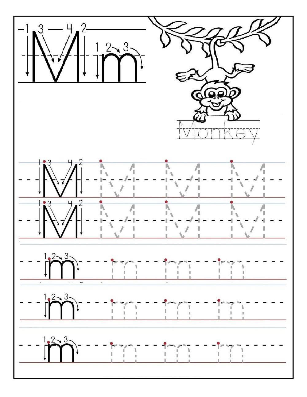 abc tracing activity sheets M