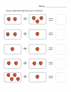 addition worksheets with pictures easy