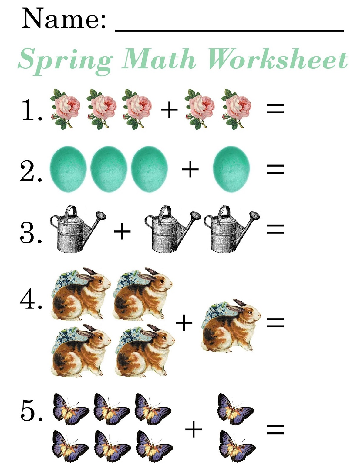 addition worksheets with pictures for kids