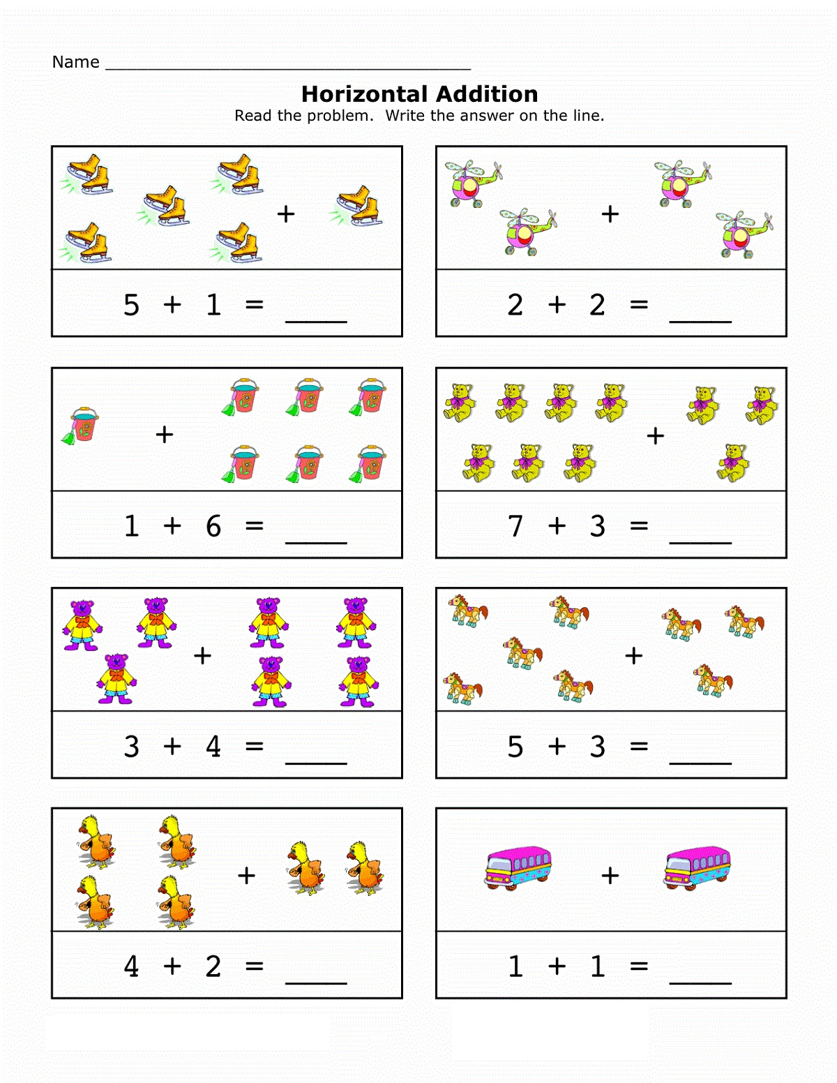 Addition Worksheets with Pictures up to 10 | Learning Printable