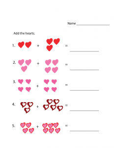 addition worksheets with pictures page