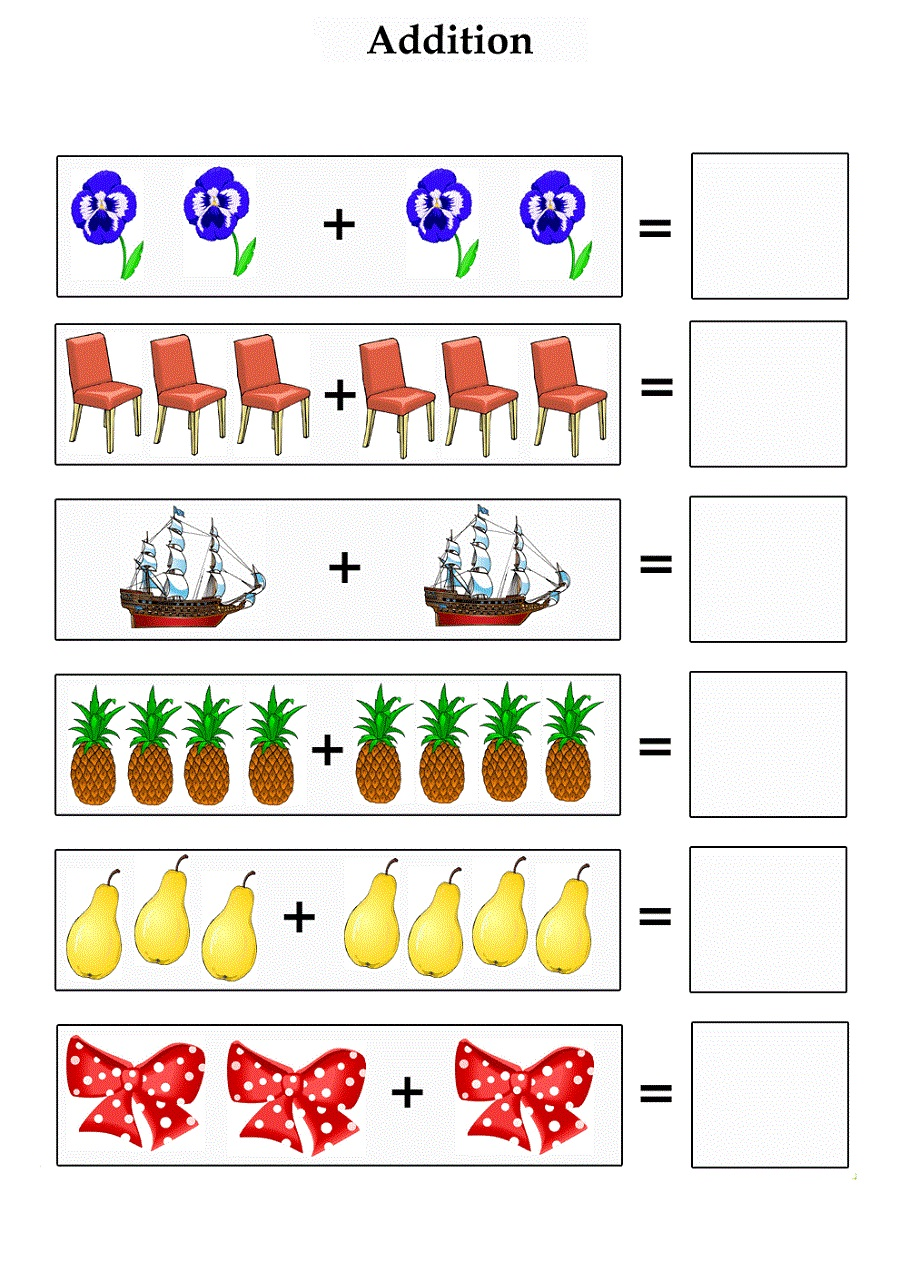 Addition subtraction worksheets with pictures