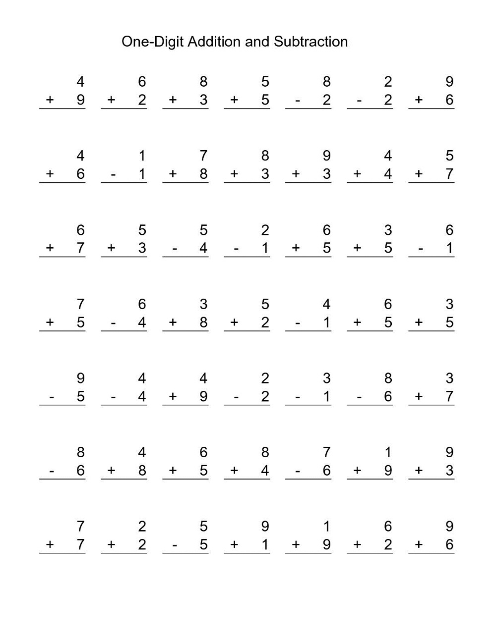 additions and subtraction worksheets printable