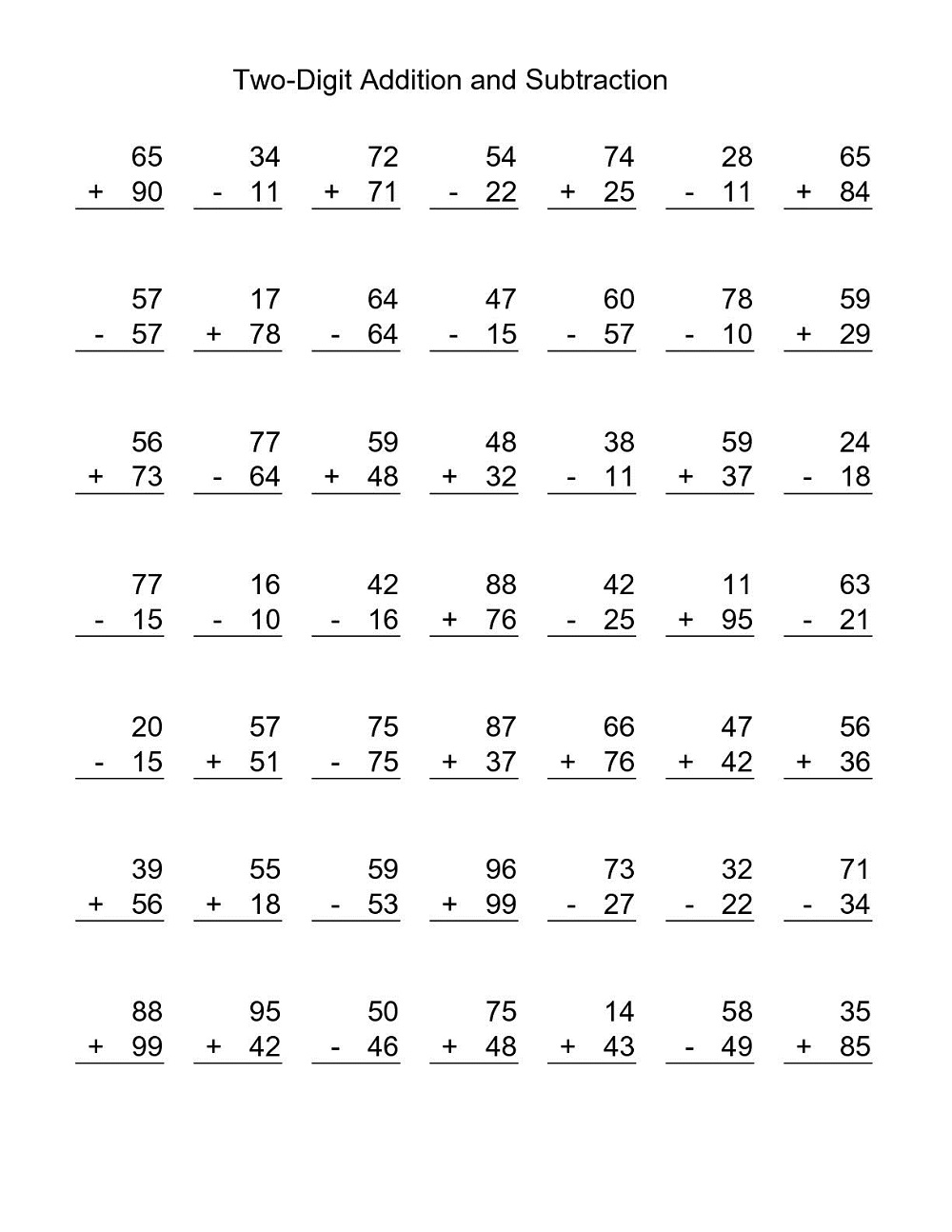 two digit additions and subtraction worksheets