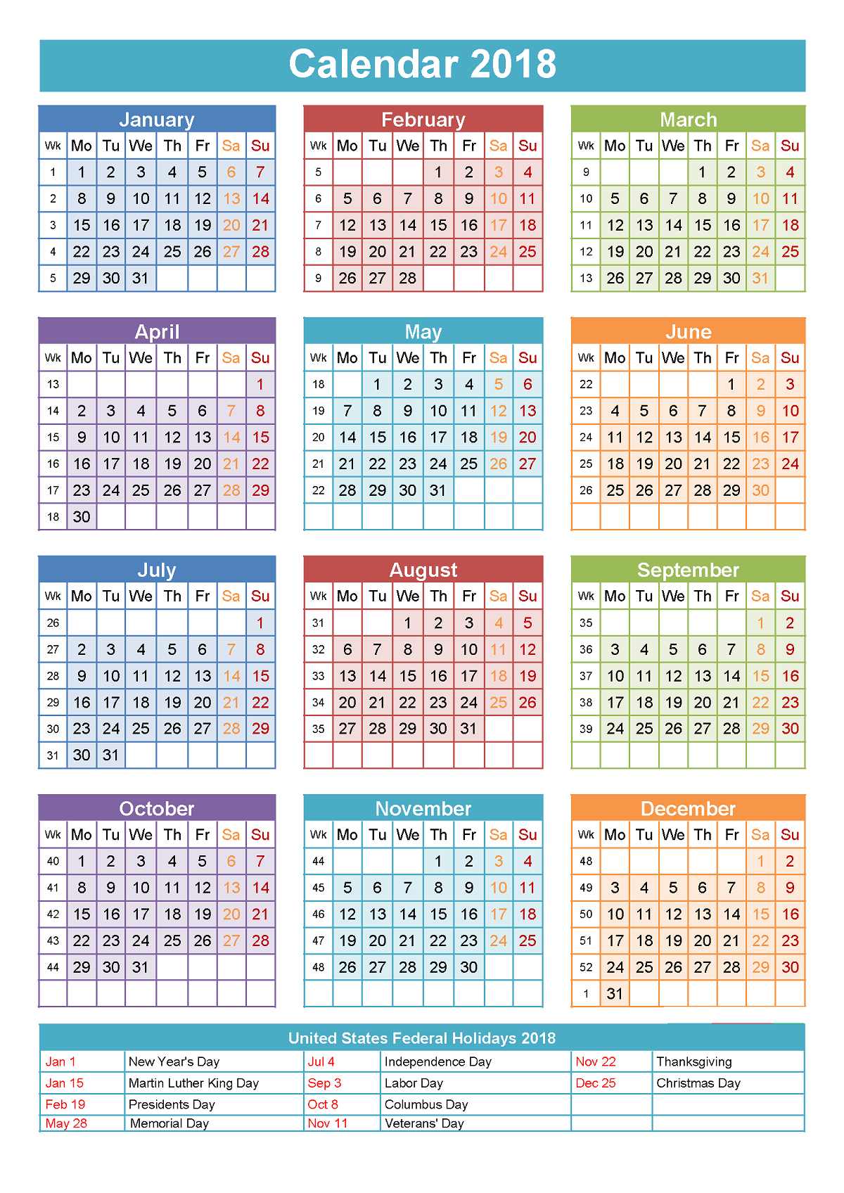 calendars 2018 printable color