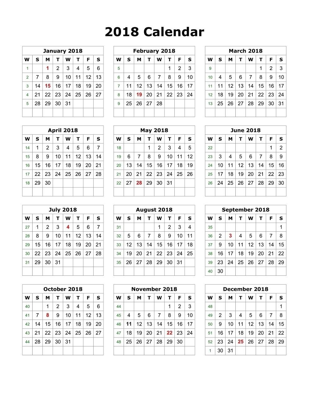 calendars 2018 printable free