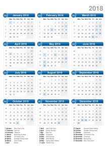 calendars 2018 printable image