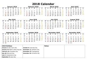 calendars 2018 printable page