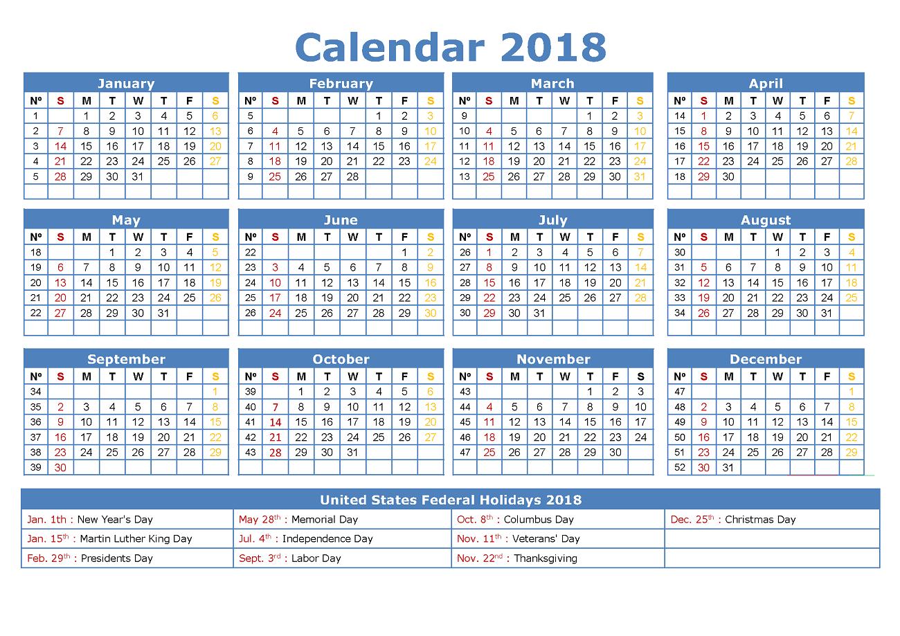 calendars 2018 printable yearly