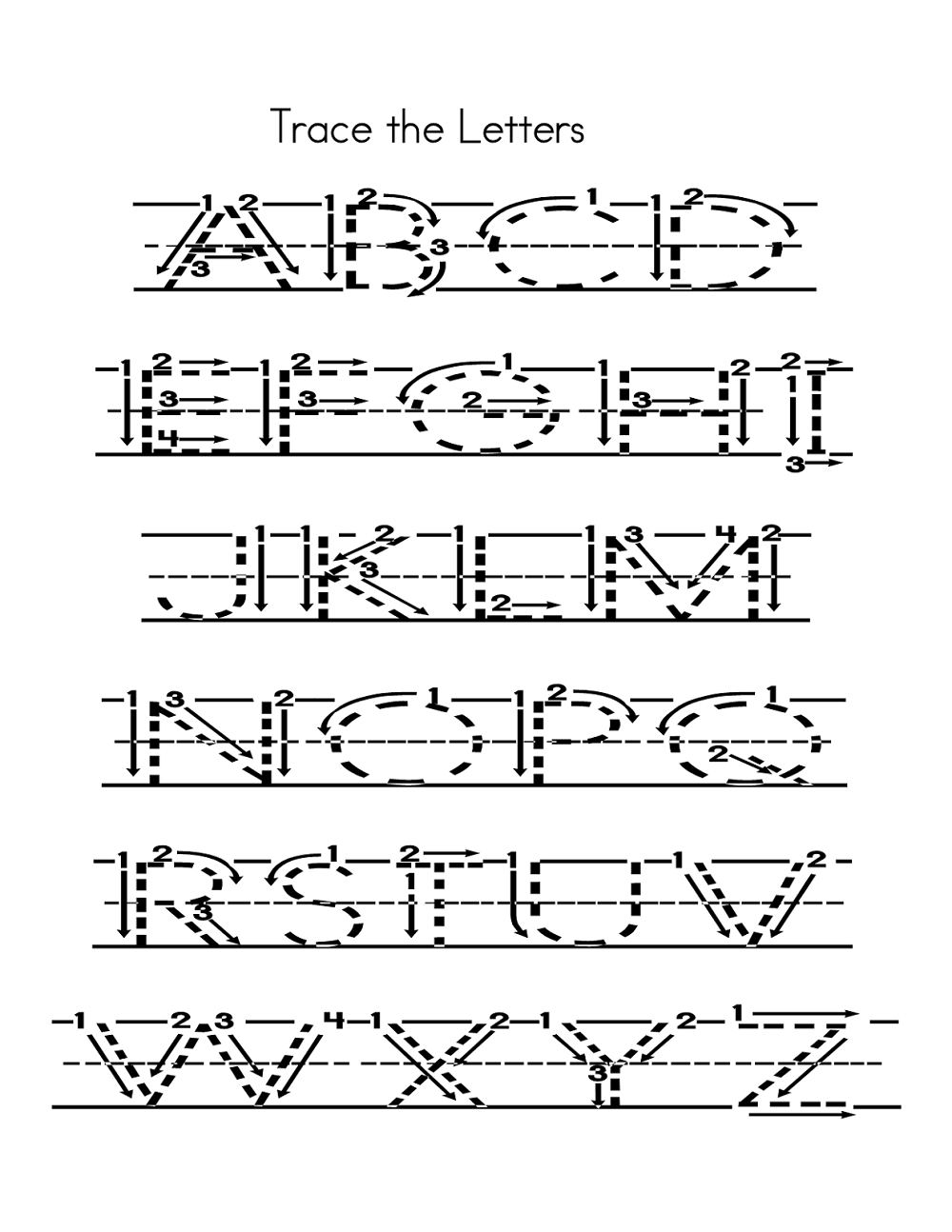 Capital Alphabets Tracing Worksheets Printable | Learning