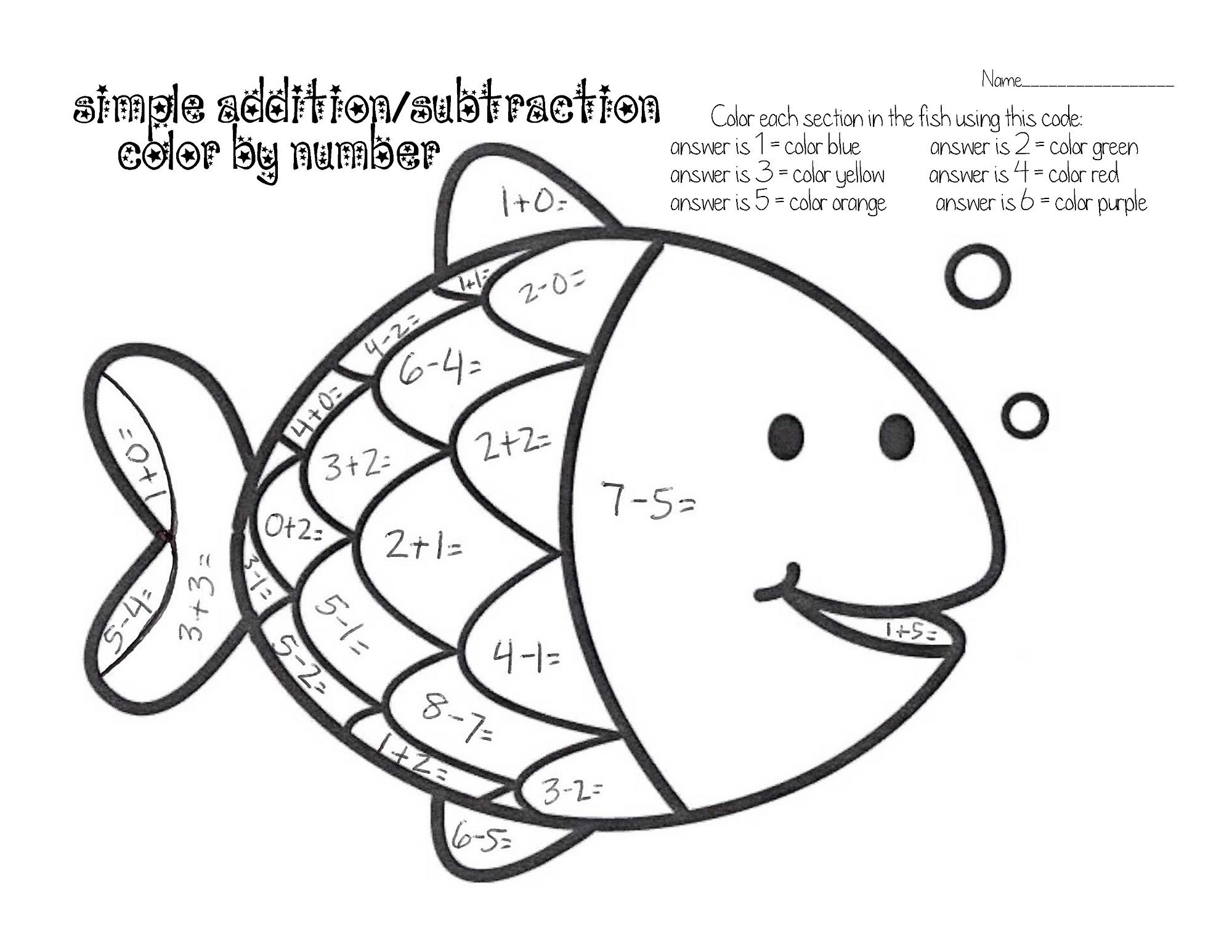 worksheet Easy Color By Number Worksheets easy fun fish worksheets for kids color by number learning printable number