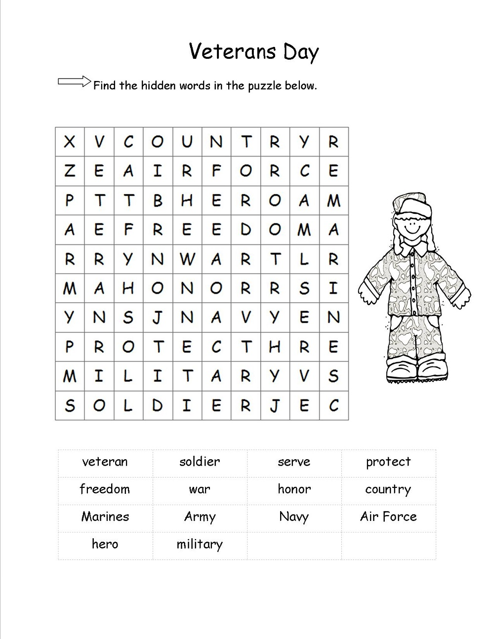 free elementary word search for