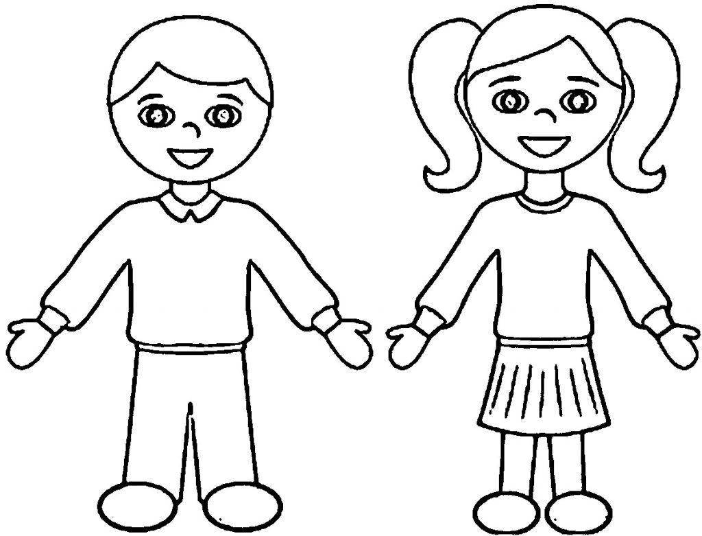 Girl and boy colour in template learning printable for Coloring pages girl and boy