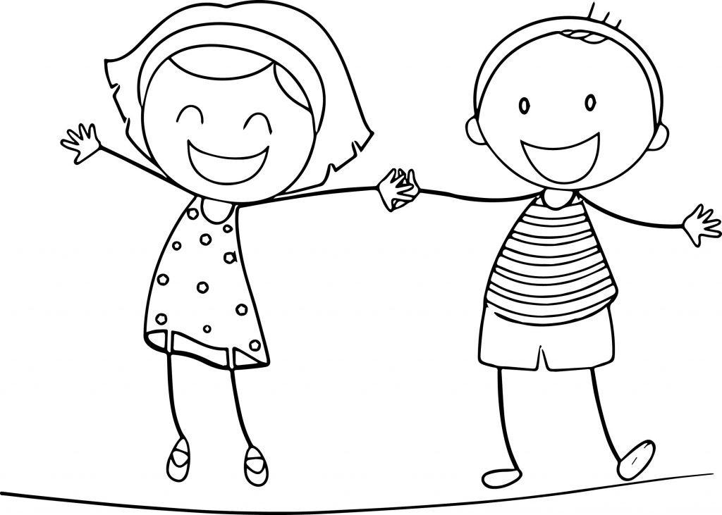 girl and boy colour in template for kids - To Colour In