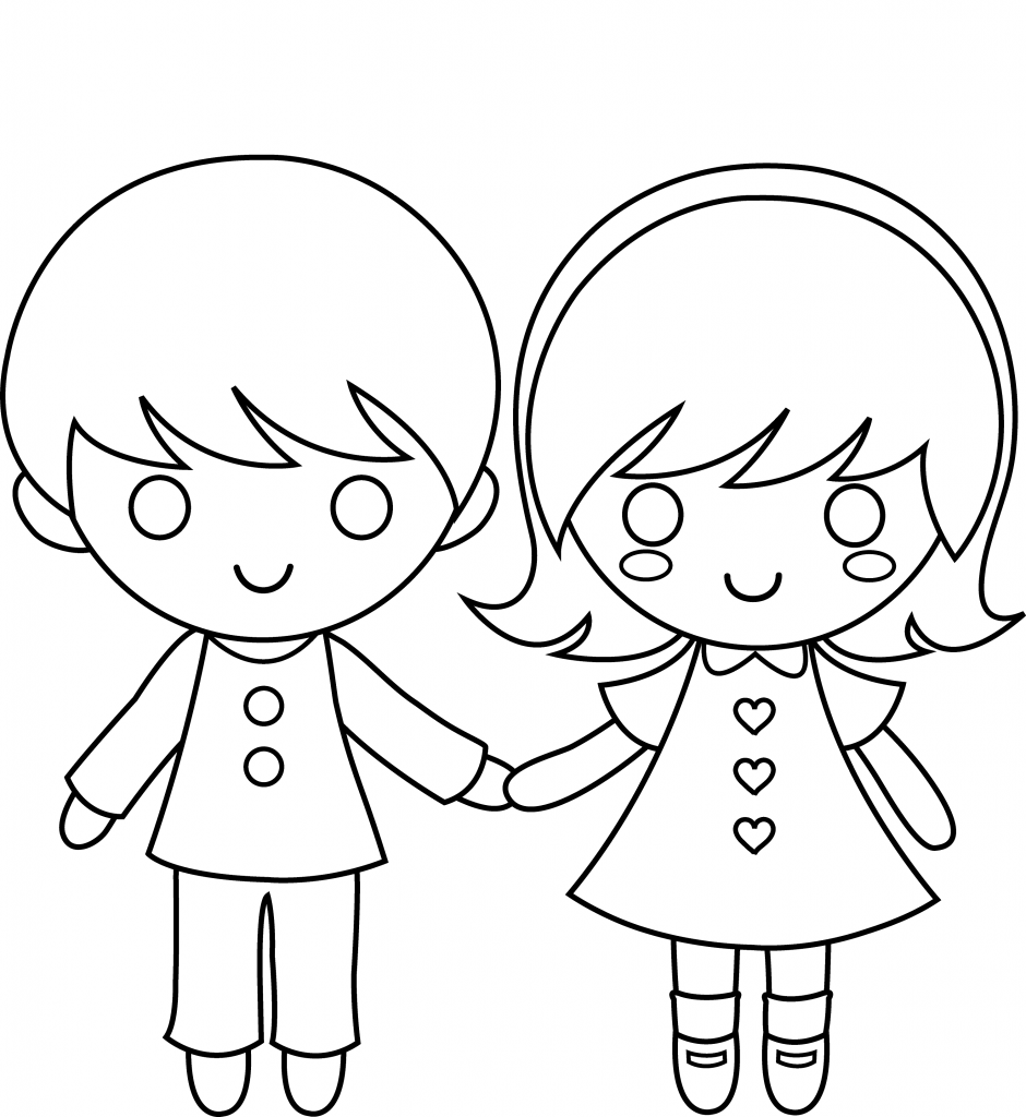 girl and boy colour in template learning printable