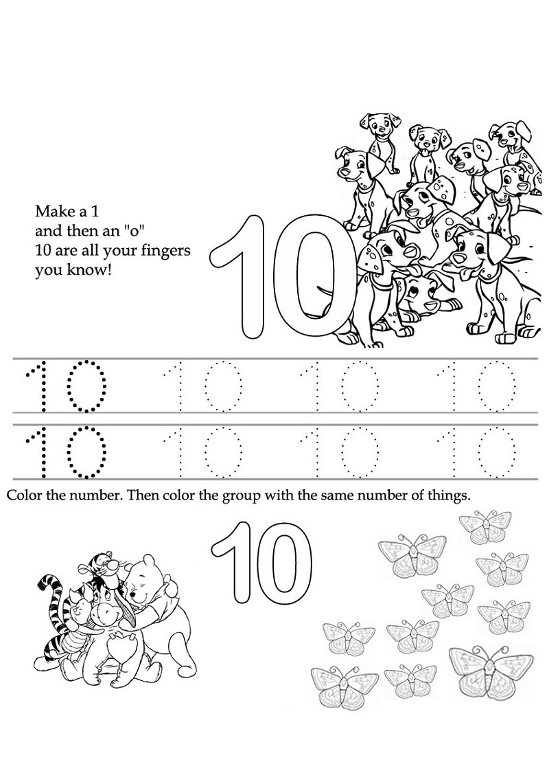 number 10 preschool worksheet activity