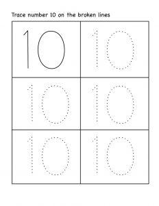 number 10 preschool worksheet easy