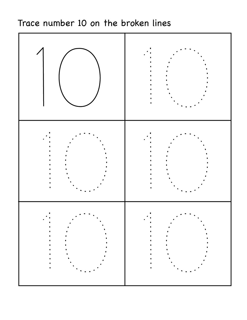 number 10 preschool worksheet easy