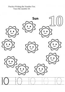 number 10 preschool worksheet free