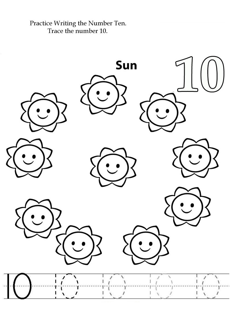 number 10 preschool worksheet free