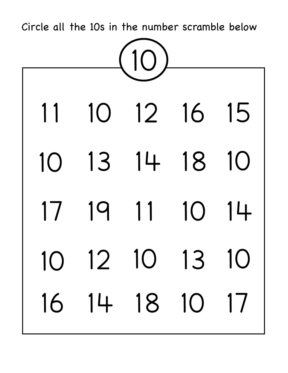 number 10 preschool worksheet fun