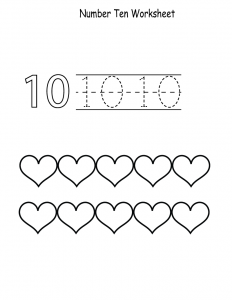number 10 preschool worksheet page