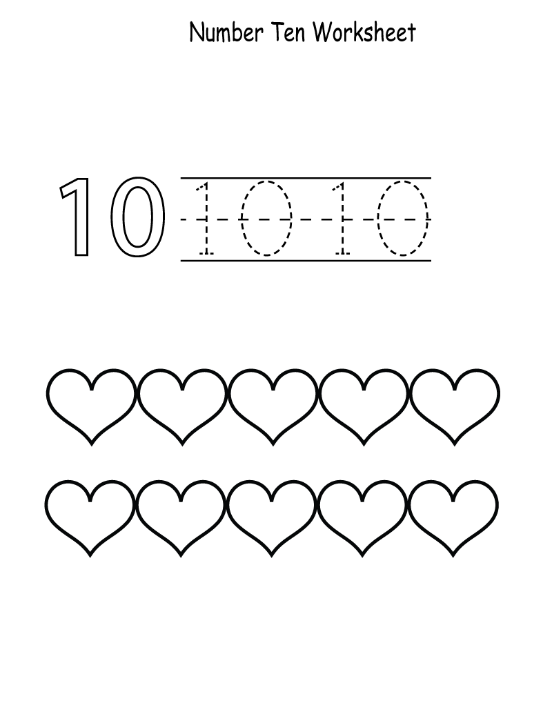 worksheet Number 10 Worksheet number 10 preschool worksheets learning printable worksheet page