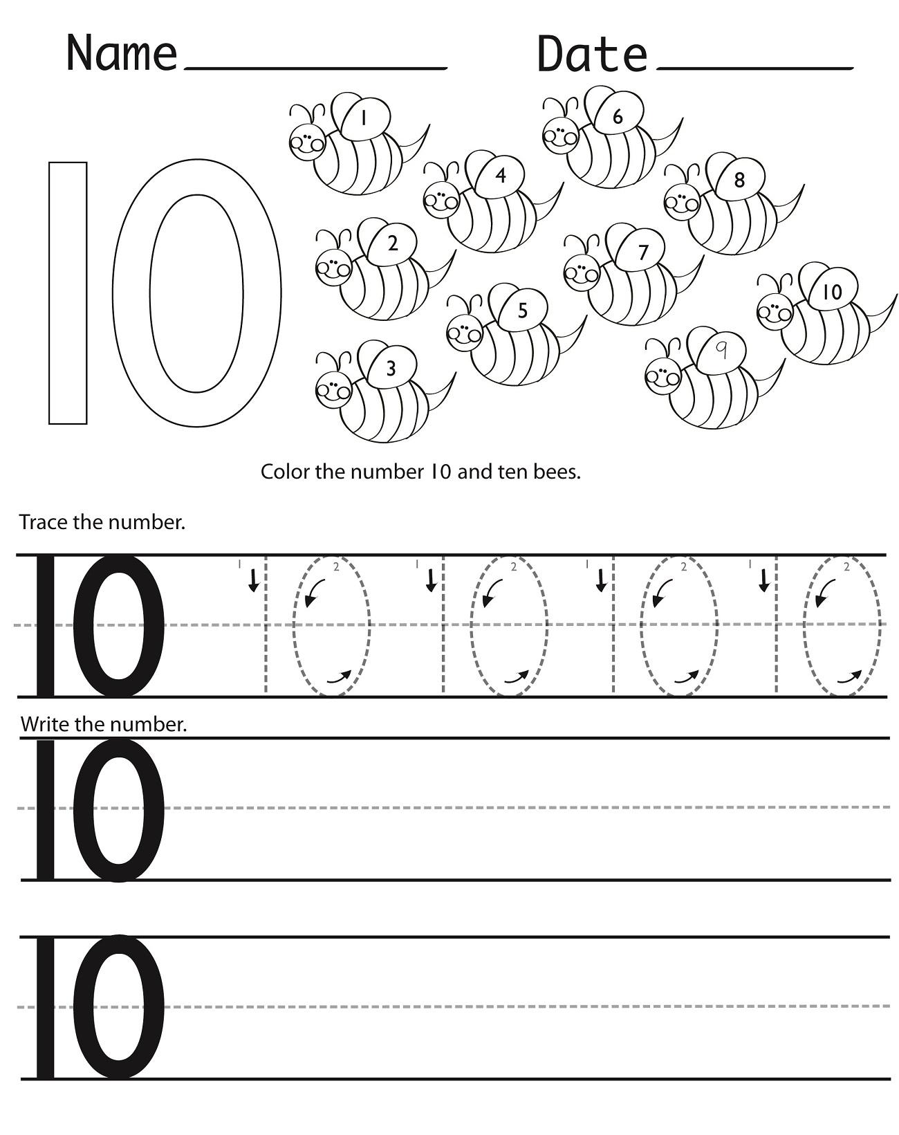 Number 10 Preschool Worksheets | Learning Printable