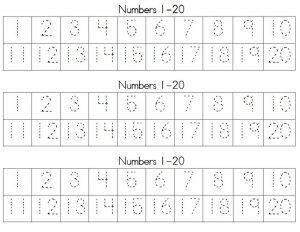 1-20 number tracing activity
