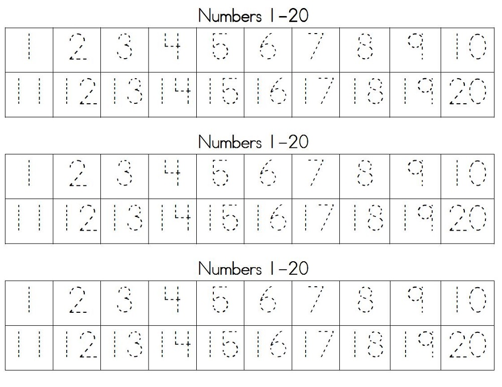 1-20 Number Tracing