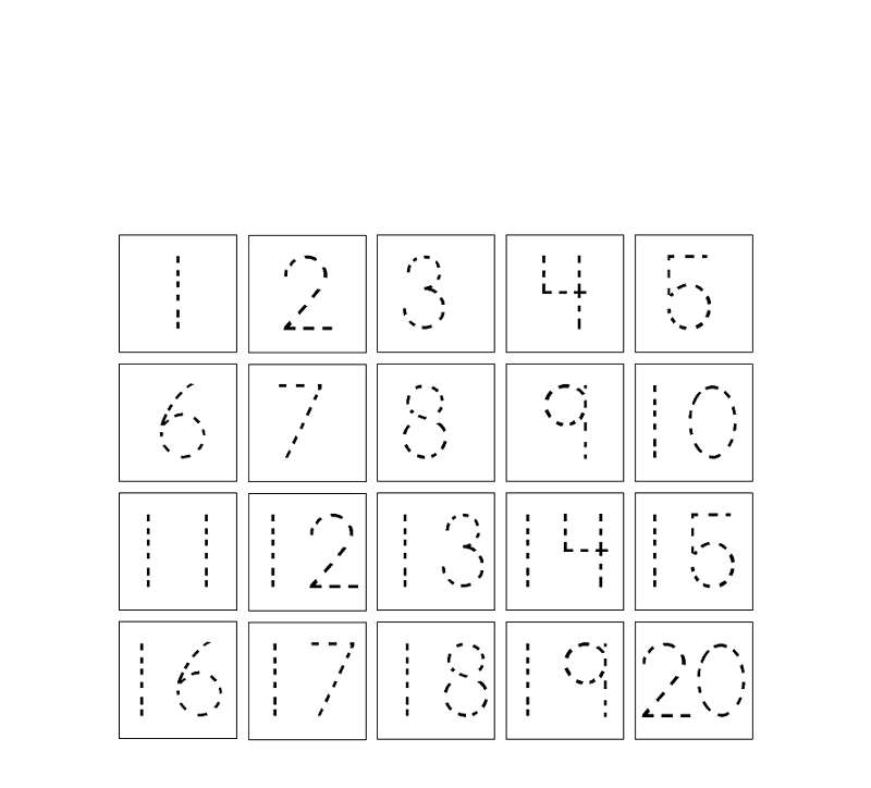 1-20 number tracing for kids
