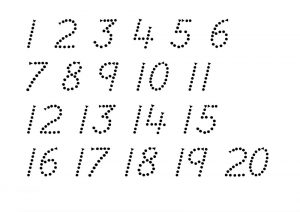 1-20 number tracing page