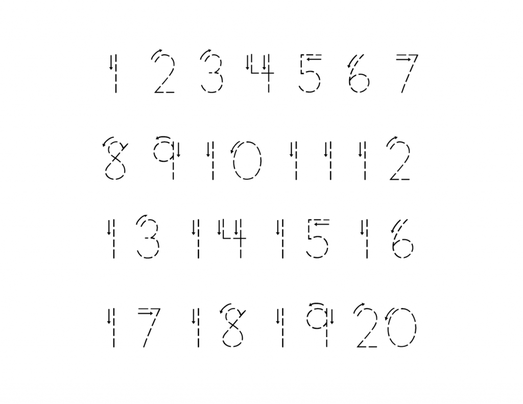 1-20 number tracing sheet