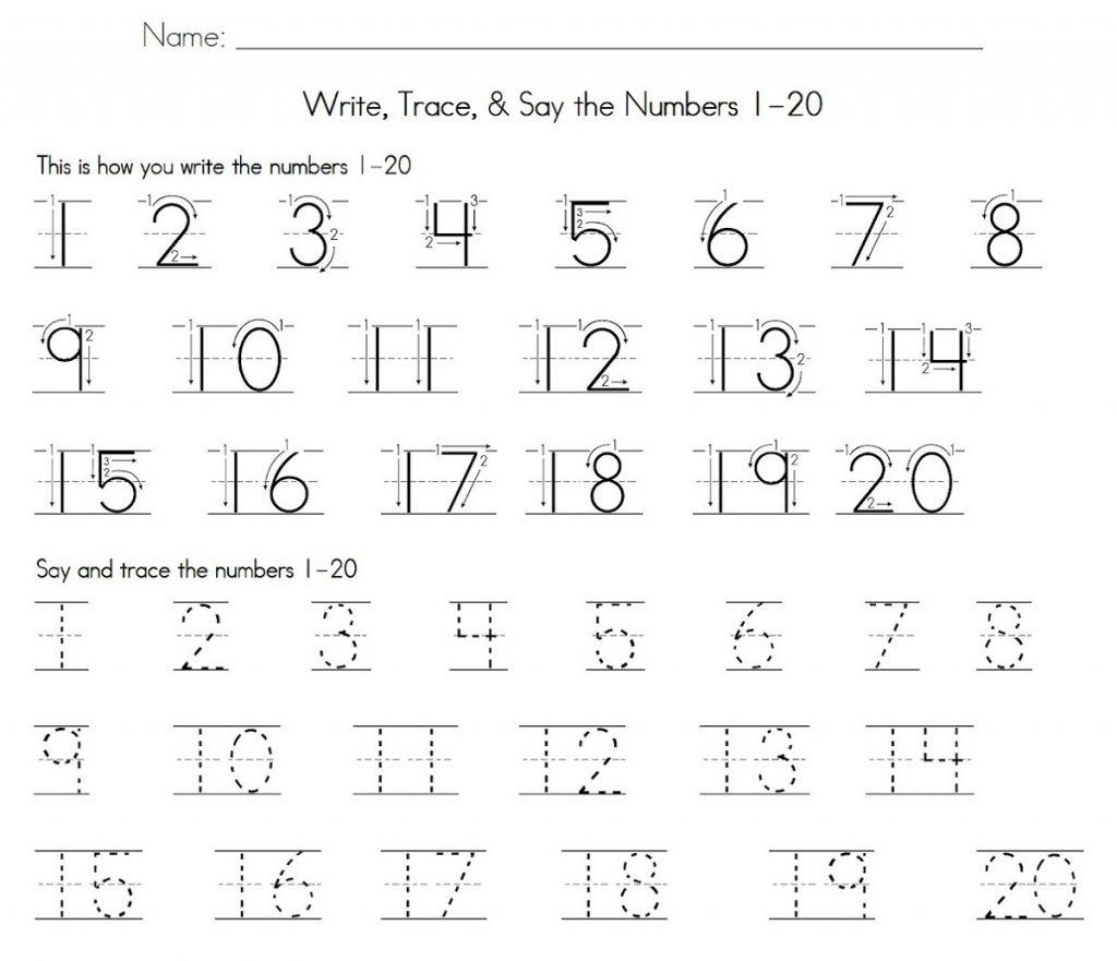 1-20 number tracing worksheet