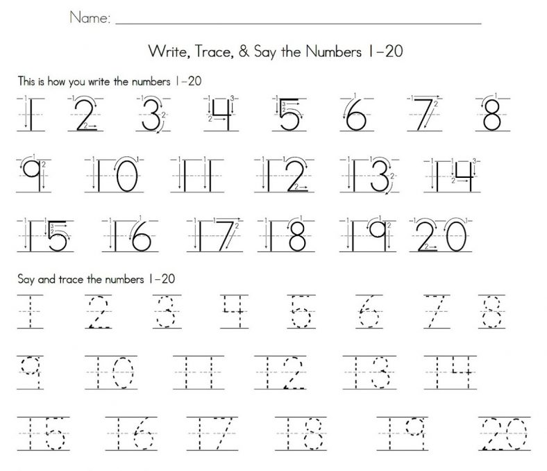 1 20 number tracing learning printable. Black Bedroom Furniture Sets. Home Design Ideas