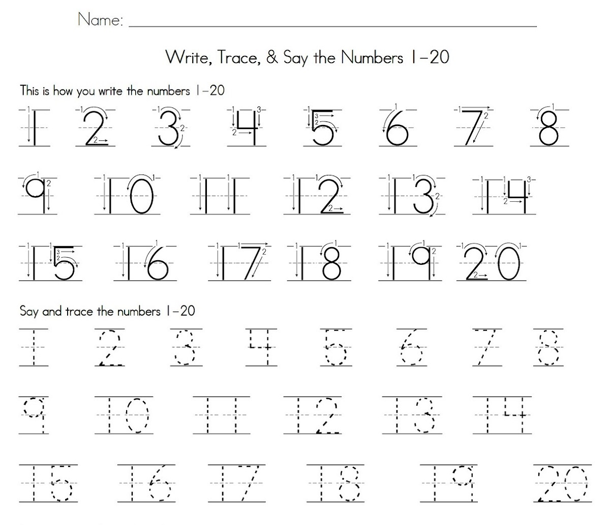 1-20 number tracing worksheet
