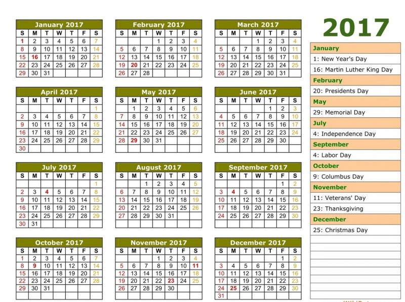1 page calendar 2017 complete