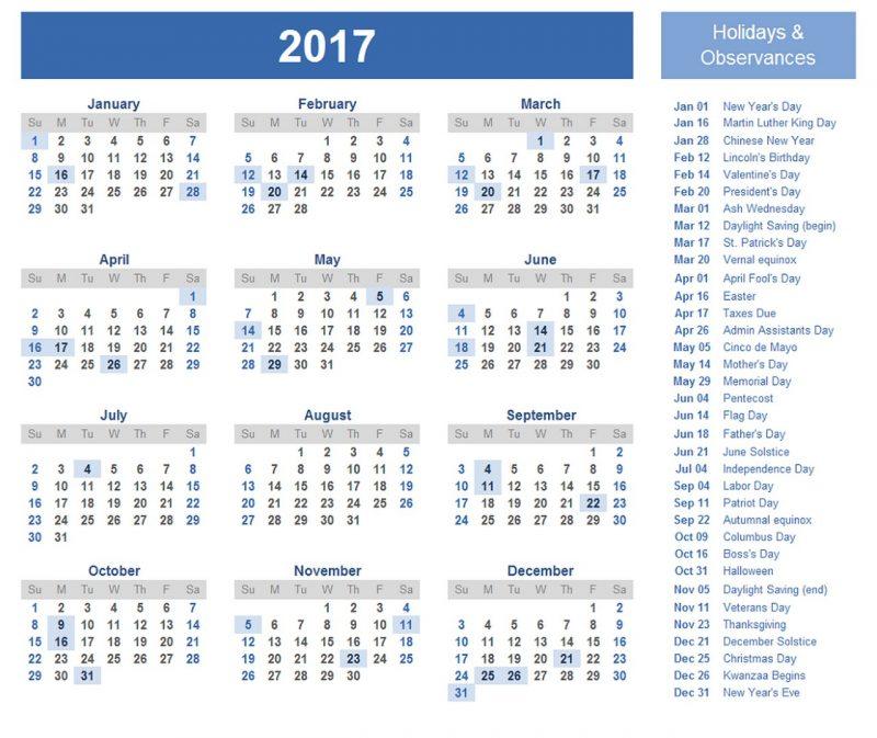 1 page calendar 2017 free
